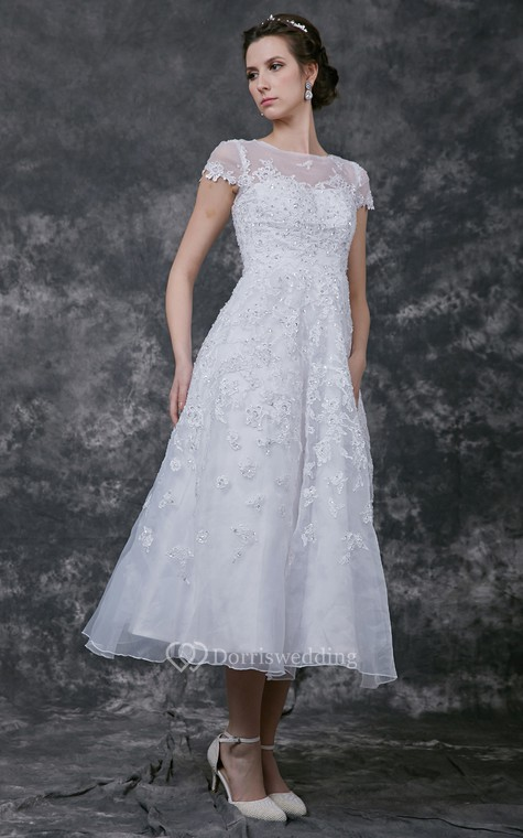 Modern Cap-sleeve Dress With Illusion Neckline and Beaded Lace Applique - 4