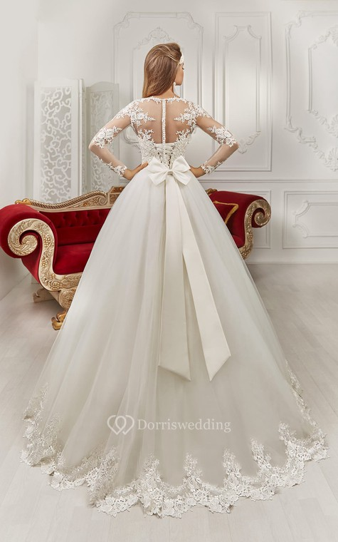 Bateau Floor-length Long Sleeve Illusion Back Appliques Dress With Bows - 4