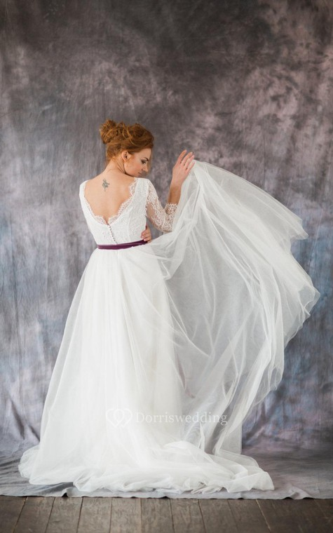 3-4 Sleeve A-Line Lace and Organza Dress With Bateau Neckline and Satin Sash - 1