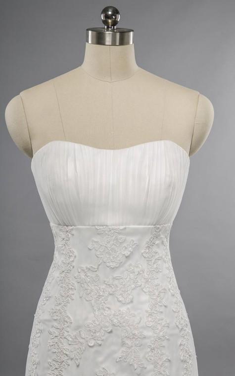 Mermaid Floor-Length Sweetheart Sleeveless Bell Appliques Zipper Keyhole Tulle Lace Dress - 3