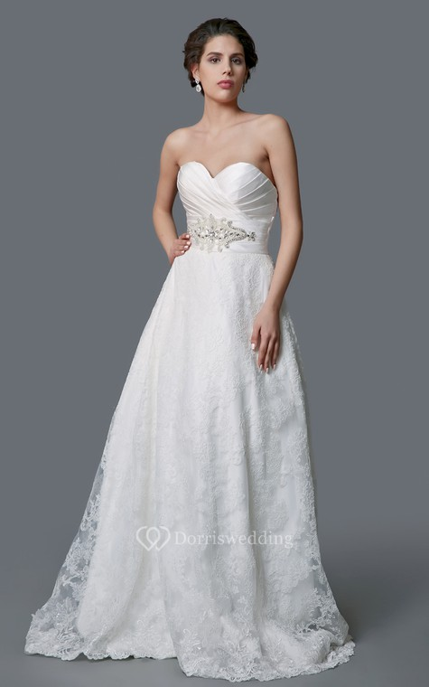 Gorgeous Sweetheart Backless Satin and Lace Ball Gown - 1