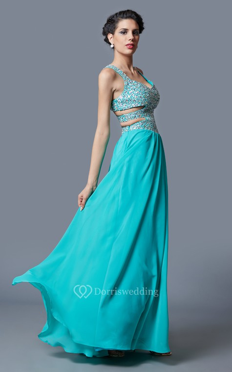Stunning Sleeveless Long Chiffon Gown with Sequined Bodice and Side Cutouts - 1