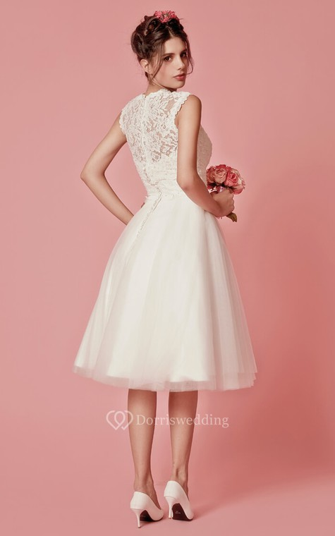 Aristocratic Cap-sleeve High Neck Tea-length Dress With Lace Top - 6