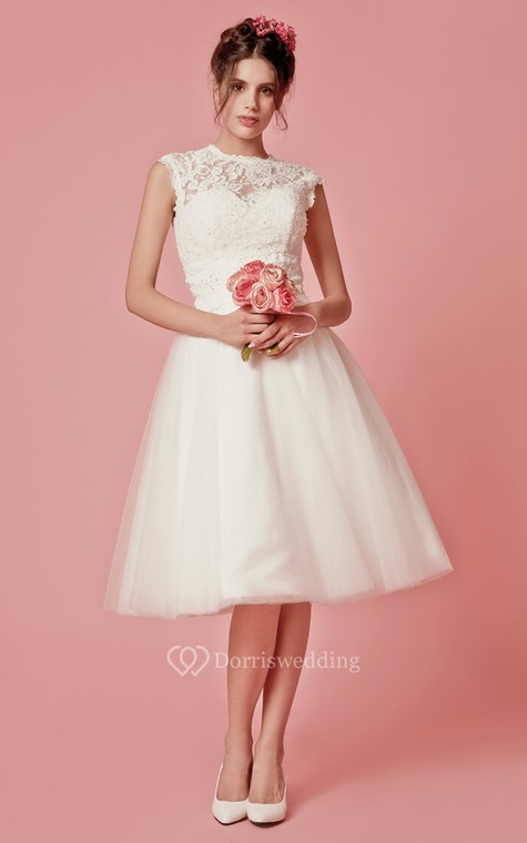 Aristocratic Cap-sleeve High Neck Tea-length Dress With Lace Top - 1