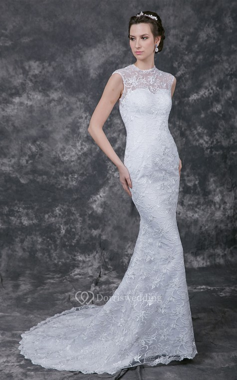 Sophisticated Cap-sleeved High Neck Slim-line Lace and Charmeuse Wedding Gown - 3