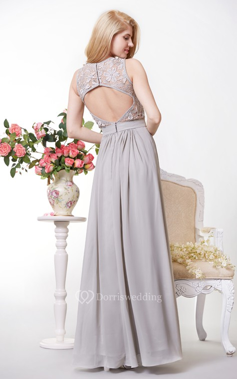 Tank Style A-line Chiffon Gown With Lace Bodice - 2
