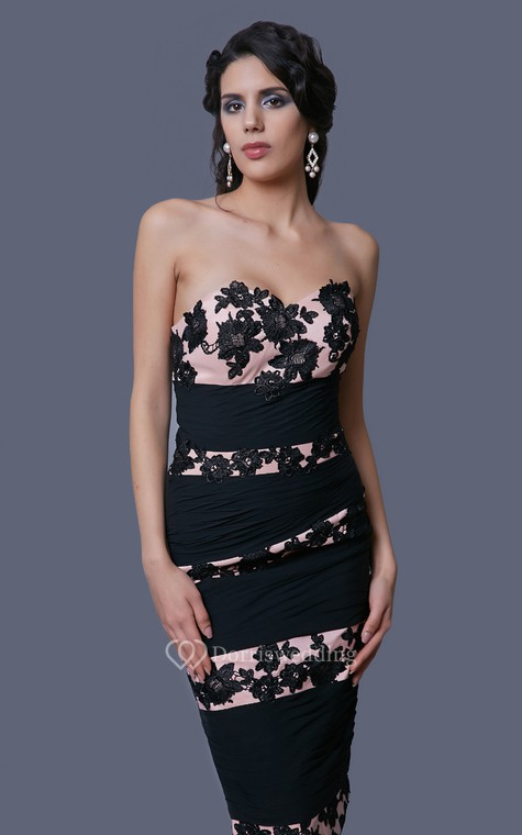 Glam Striped Lace and Chiffon Formal Knee-length Dress With Lace Jacket - 5