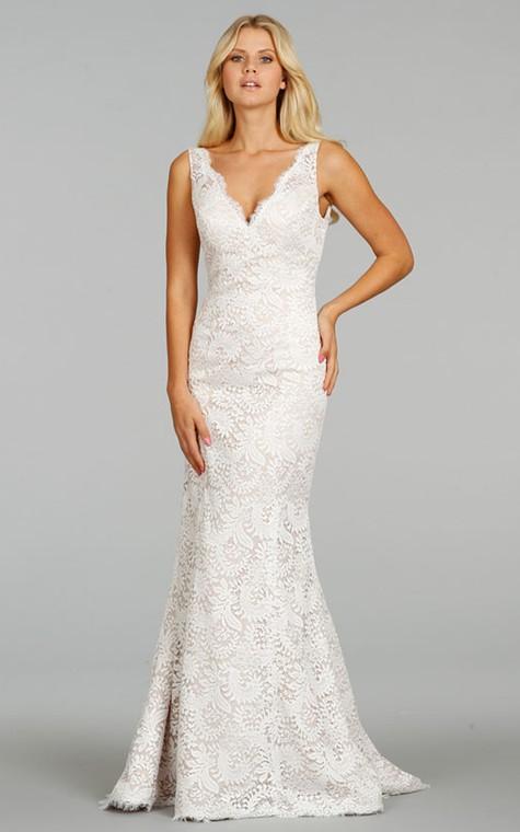 Classic Sleeveless V-Neck Floor Length Lace Dress - 1