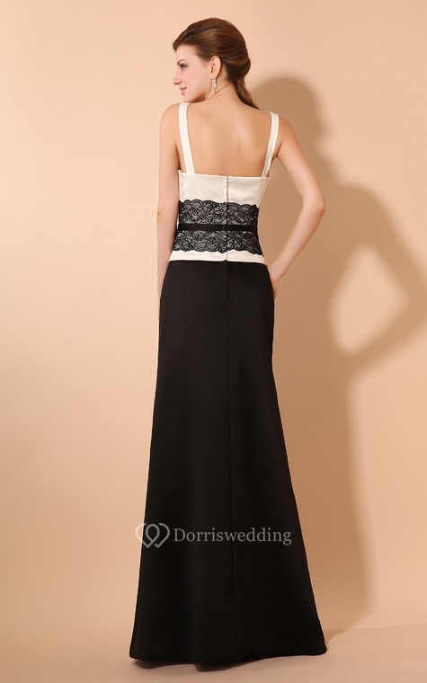 Simple Satin Sheath Dress With Laced Waistband and Spaghetti Straps - 4