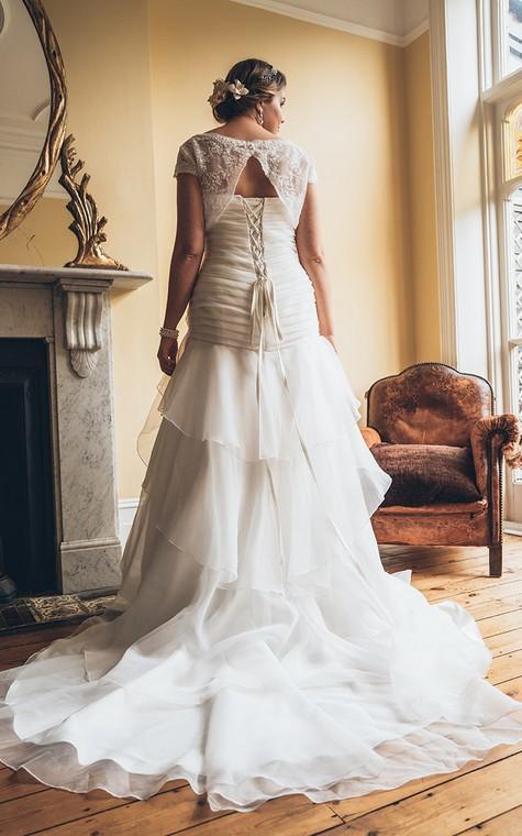 A-Line Floor-Length Bateau Neck Short Sleeve Organza Court Train Lace-Up Back Tiers Dress - 2