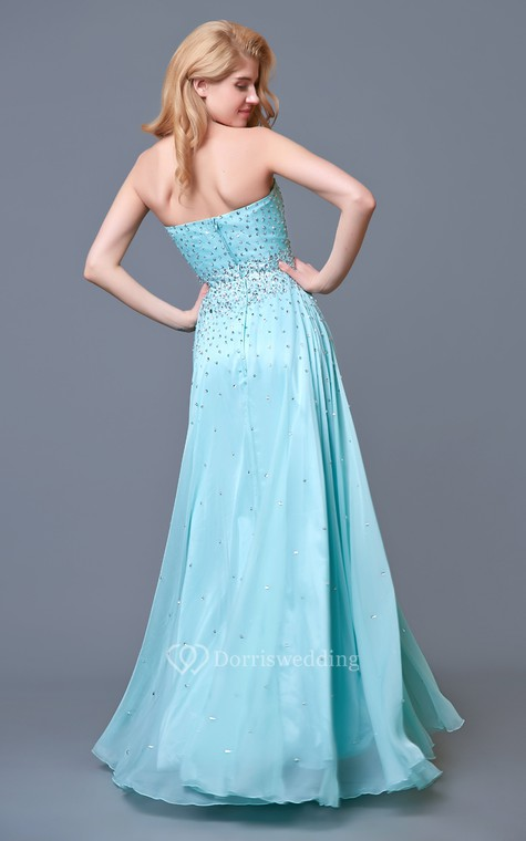Glam Chic Beaded Sweetheart Layered A-line Chiffon Prom Gown - 2