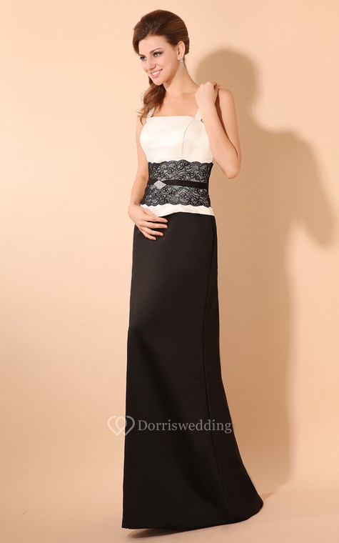 Simple Satin Sheath Dress With Laced Waistband and Spaghetti Straps - 2