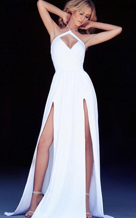 Chic Halter Chiffon 2016 Prom Dress Front Split Open Back - 4
