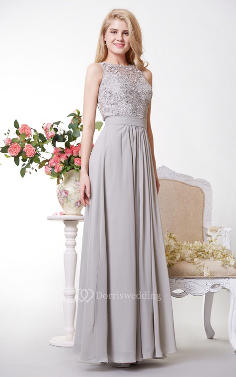 Tank Style A-line Chiffon Gown With Lace Bodice - 3