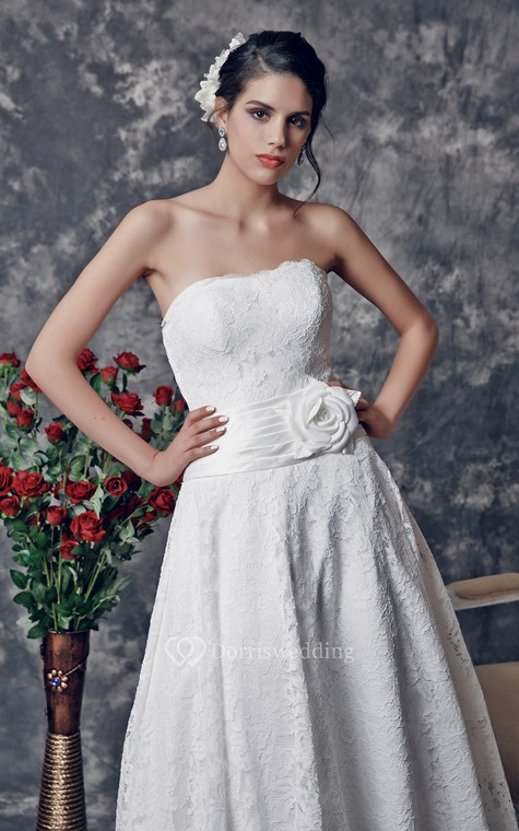Delicate Strapless Tea Length Lace Dress With Floral Ruched Waistline - 4