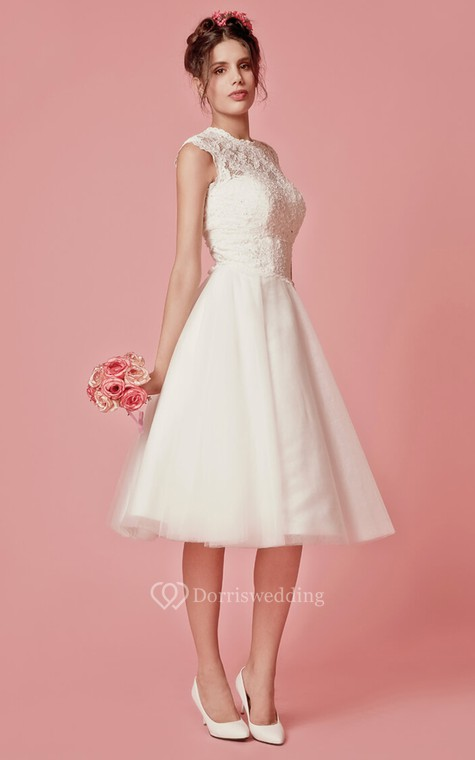 Aristocratic Cap-sleeve High Neck Tea-length Dress With Lace Top - 3