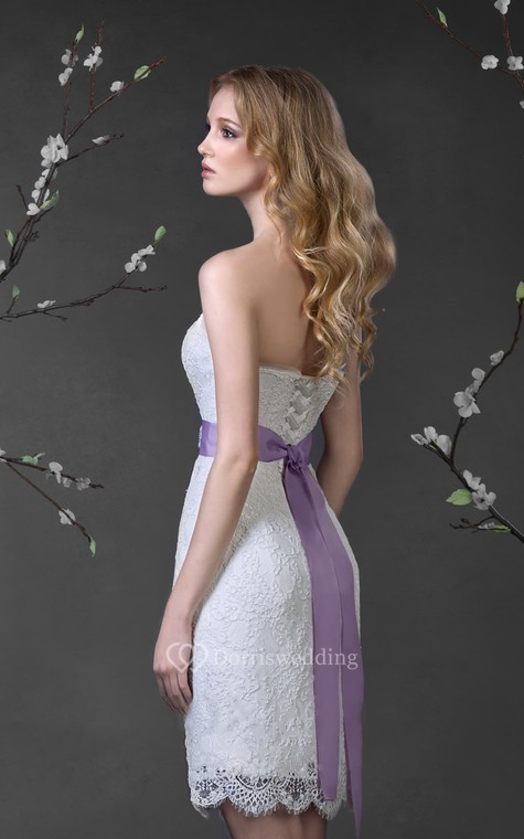Pencil Short Strapless Sleeveless Lace-Up Lace Dress With Waist Jewellery - 3