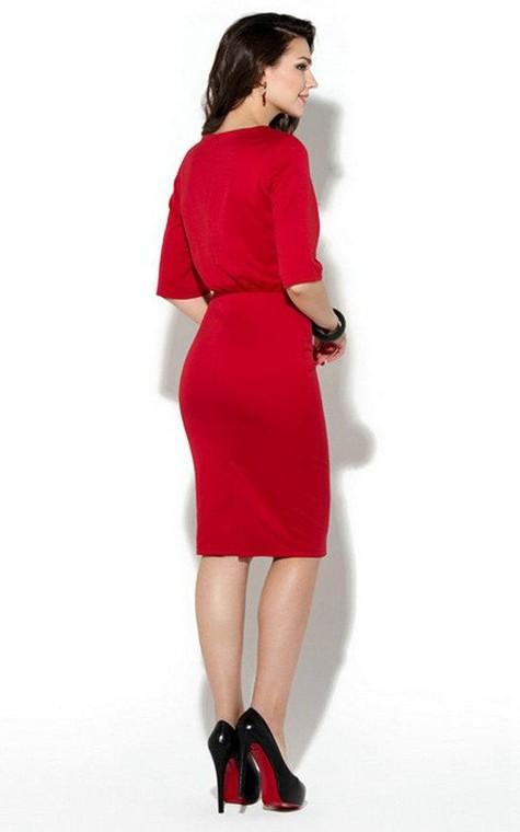 Bateau Half Sleeve Sheath Jersey Knee Length Dress - 2