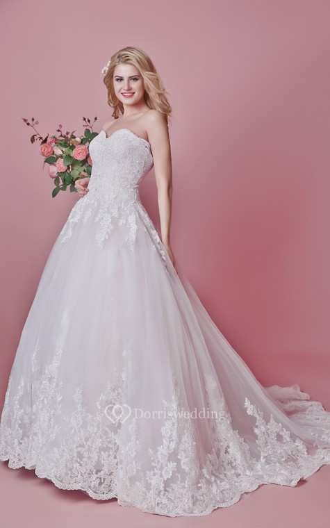 Romantic Sweetheart Floral Lace Applique and English Net Wedding Ball Gown - 2