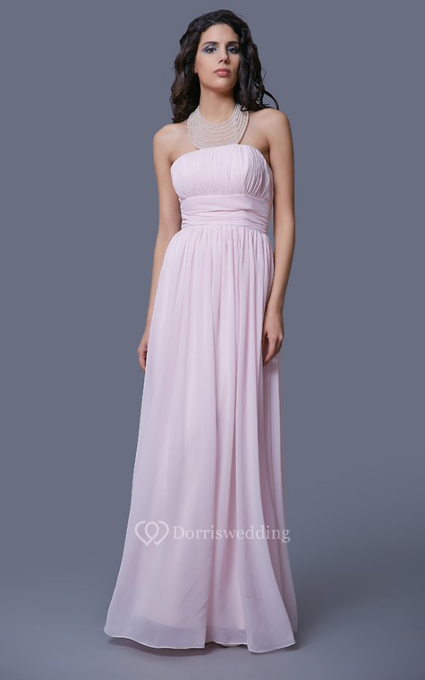 Feminine Strapless Empire-waisted Prom Gown with Pleats - 1