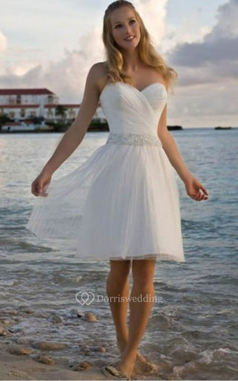 Angelic Crisscross Ruched Bodice Short Dress With Beaded Waist - 1