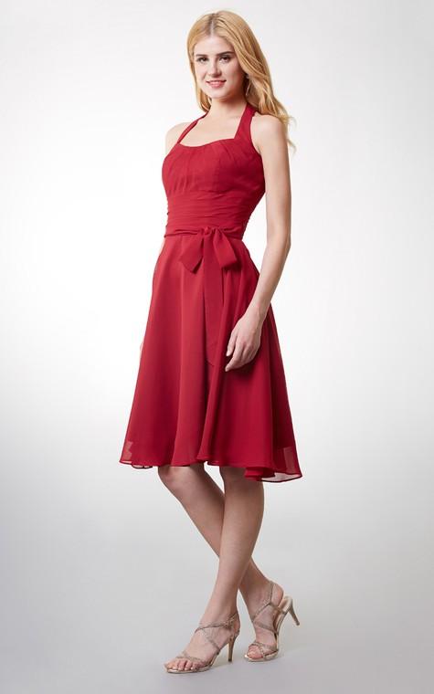 Elegant Halter Style Soft-pleated Layered A-line Chiffon Dress - 3