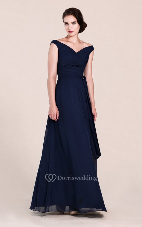 Off-shoulder A-line Chiffon Gown With V-back - 1