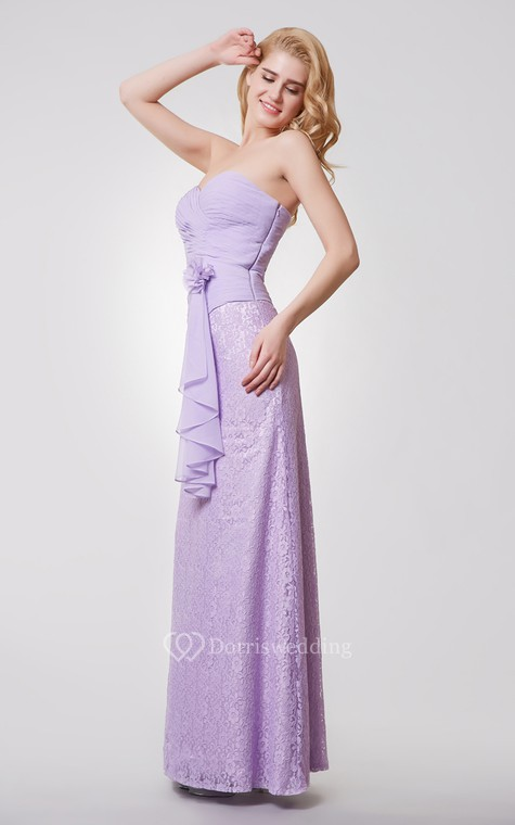 Sweetheart Backless Floral Long Chiffon and Lace Dress - 2