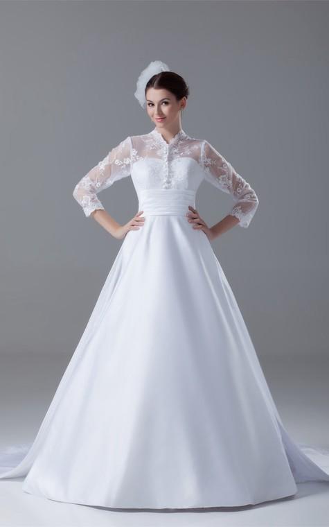 Exquisite Long Sleeve High Neck Satin Appliqued a Line Wedding Dresses - 1