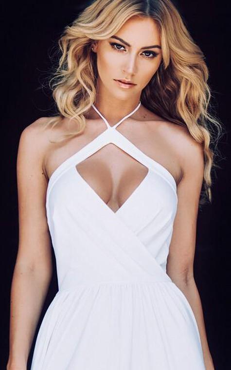 Chic Halter Chiffon 2016 Prom Dress Front Split Open Back - 5