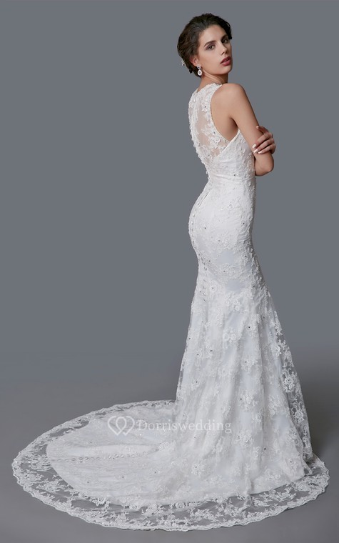 Delicate Illusion Back Lace Mermaid Dress - 4