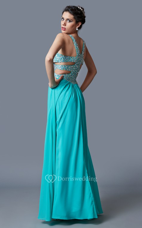 Stunning Sleeveless Long Chiffon Gown with Sequined Bodice and Side Cutouts - 2