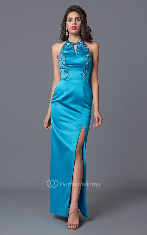 Feminine Sleeveless High Neck Sheath Satin Gown With Floral Beading - 1