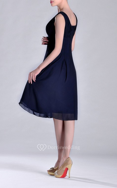 Scooped A-line Pleated Chiffon Knee-length Bridesmaid Dress - 5