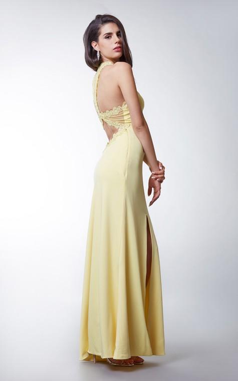 Long Jersey Dress with Side Slit and Keyhole Back - 4