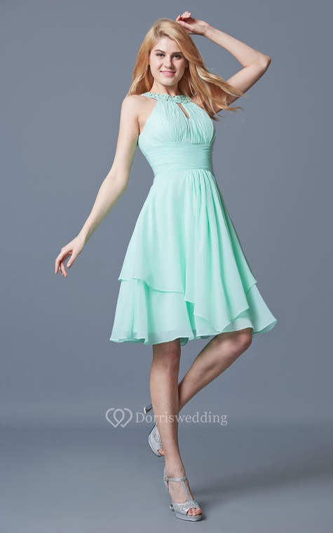 Elegant Sleeveless Tiered Knee Length Chiffon Dress With Keyhole Back - 2