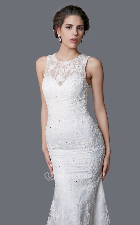 Delicate Illusion Back Lace Mermaid Dress - 5