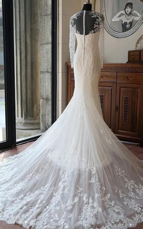 Tea-Length Off-The-Shoulder One-Shoulder Long Sleeve Chiffon Sequins Satin Dress - 2