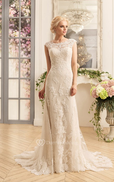 Sheath Floor-Length Scoop Cap-Sleeve Illusion Lace Dress With Appliques - 1