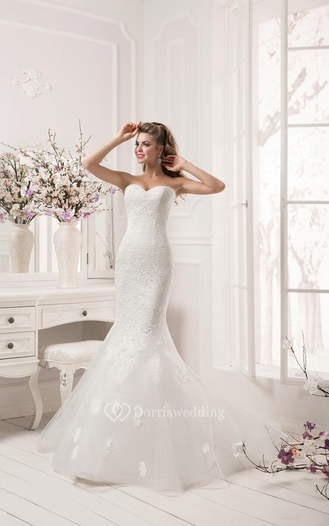 Half Sleeve Scalloped Neckline Lace Mermaid Dress - 3