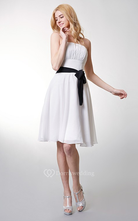 Classic Top-ruched Strapless Layered A-line Chiffon Dress - 5