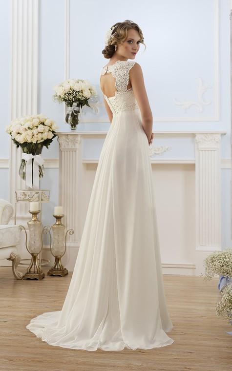A-Line Long Cap-Sleeve Keyhole Chiffon Dress With Lace - 2