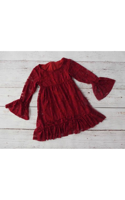 Bateau Neck Long Bell Sleeve A-line Lace Short Dress With Ruffles - 3