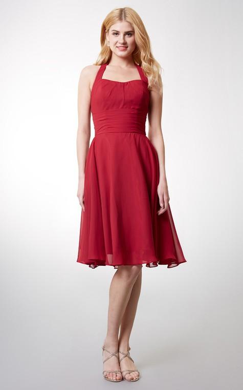 Elegant Halter Style Soft-pleated Layered A-line Chiffon Dress - 1