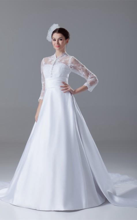 Exquisite Long Sleeve High Neck Satin Appliqued a Line Wedding Dresses - 2