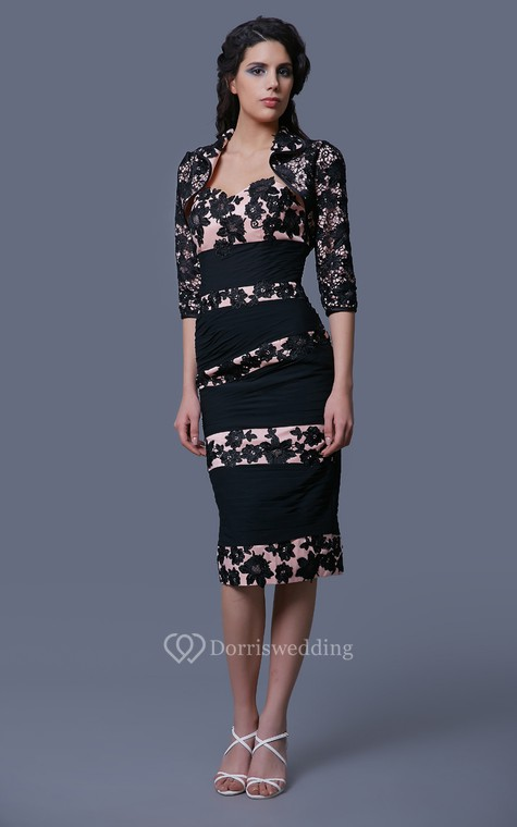 Glam Striped Lace and Chiffon Formal Knee-length Dress With Lace Jacket - 1