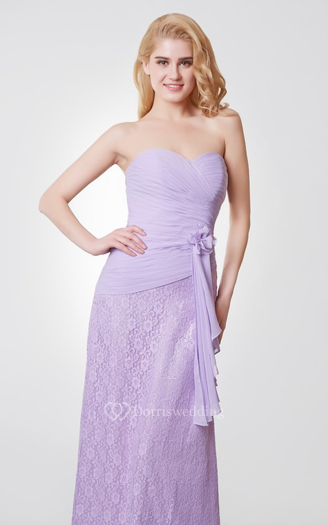 Sweetheart Backless Floral Long Chiffon and Lace Dress - 5