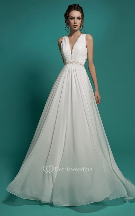 A-Line Floor-Length V-Neck Sleeveless Empire Illusion Chiffon Dress With Beading And Ruching - 1