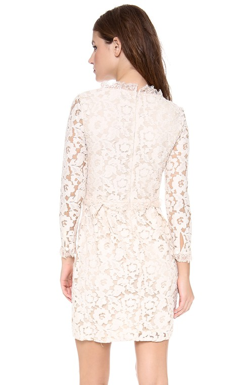 Short Long-sleeved Scooped Sheath Lace Dress - 2