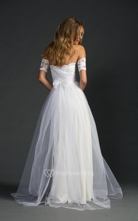 Off-The-Shoulder A-Line Tulle Dress With Lace Bodice - 4